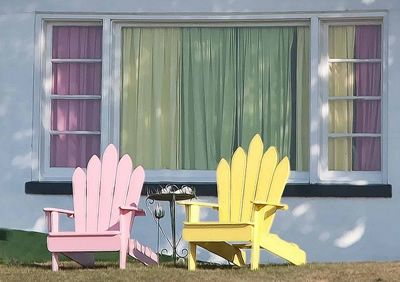 Outdoor Living // pastel chairs #candy
