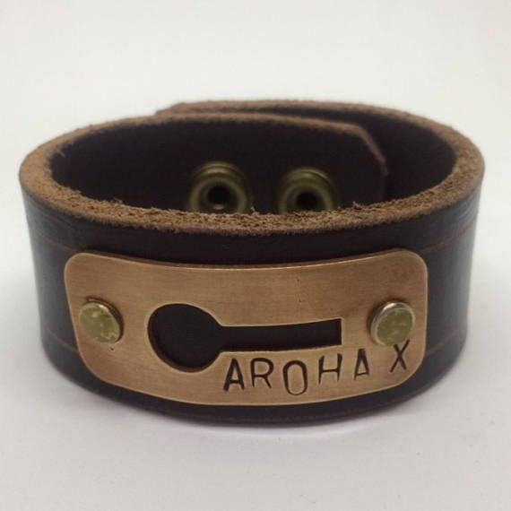 Dark Brown Leather Cuff Bracelet for women copper stamped