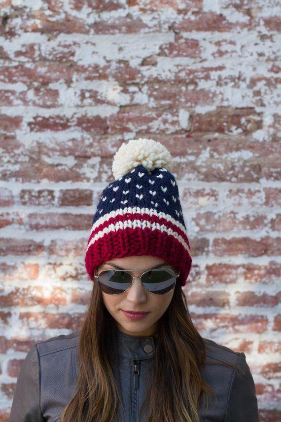 9e68a7753c4ad American Flag Beanie Fair Isle Beanie USA Beanie Ski
