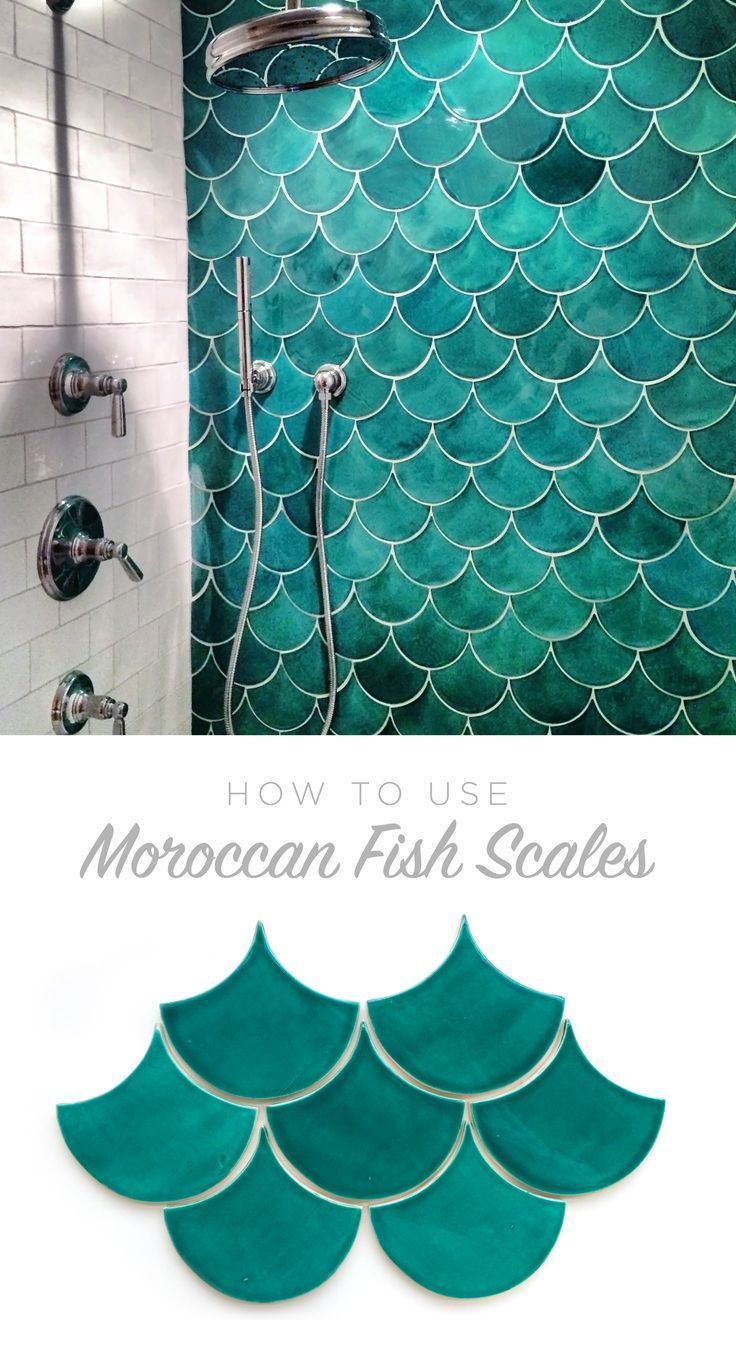 Turquoise kitchen walls like the chair color too decorating - How To Use Moroccan Fish Scales For Your Bath Or Shower Wall Unique Tile With