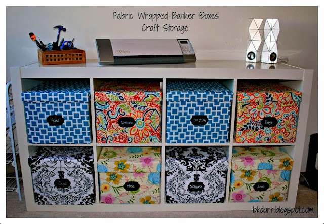fabric covered banker boxes