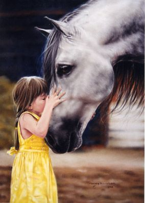 This picture reminds me of when my grandson was afraid of the cat in the barn but ran right up and kissed the horse! He's such an awesome kid!