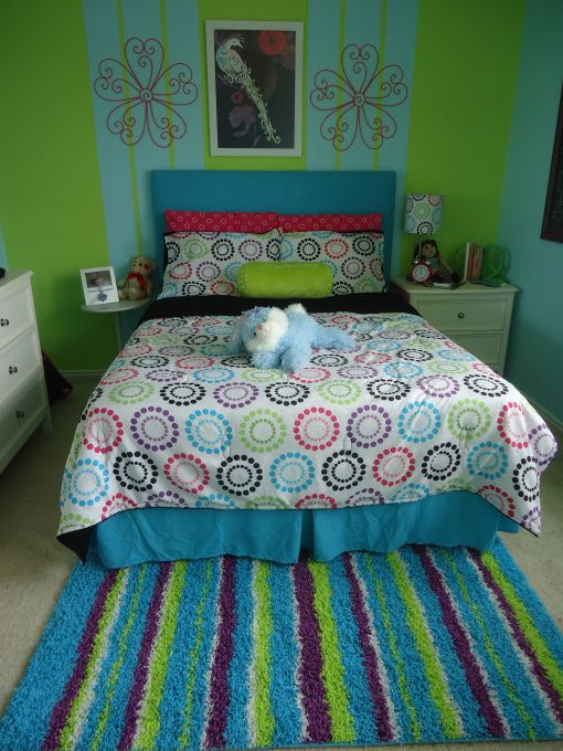 Colorfull Retreat, This is my daughters teenage room;  she wanted a colorfull but calming room at the same time.    This room is not too big so I tried to fit everything that she desire in her room.        P.S.  still in progress., Girls Rooms Design