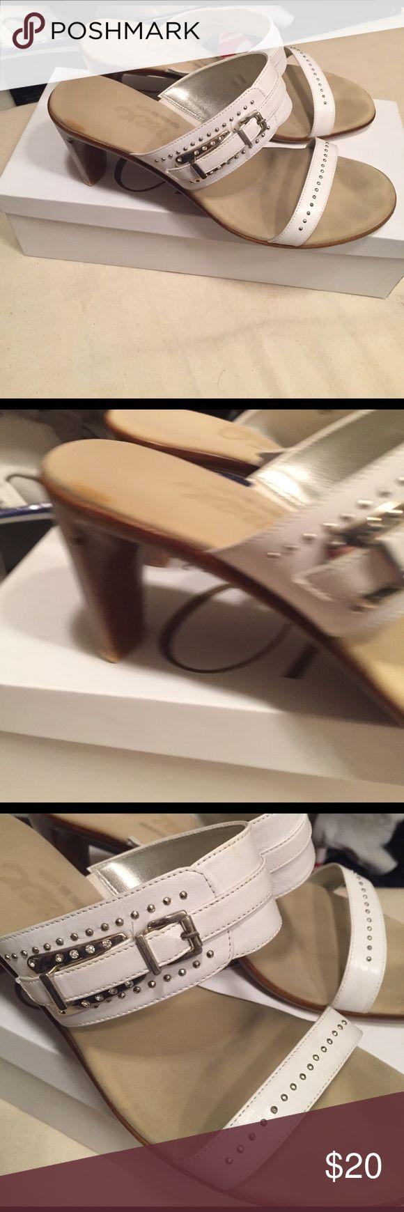 White slip on heel Slip on heel with buckle and studs. Slightly worn onex Shoes Heels