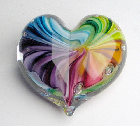 "Solid Glass Heart Paperweight ""Tie Dye Heart""."