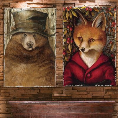 Cape Craftsmen Old Bear and Fox Burlap by Jayne Siroshton