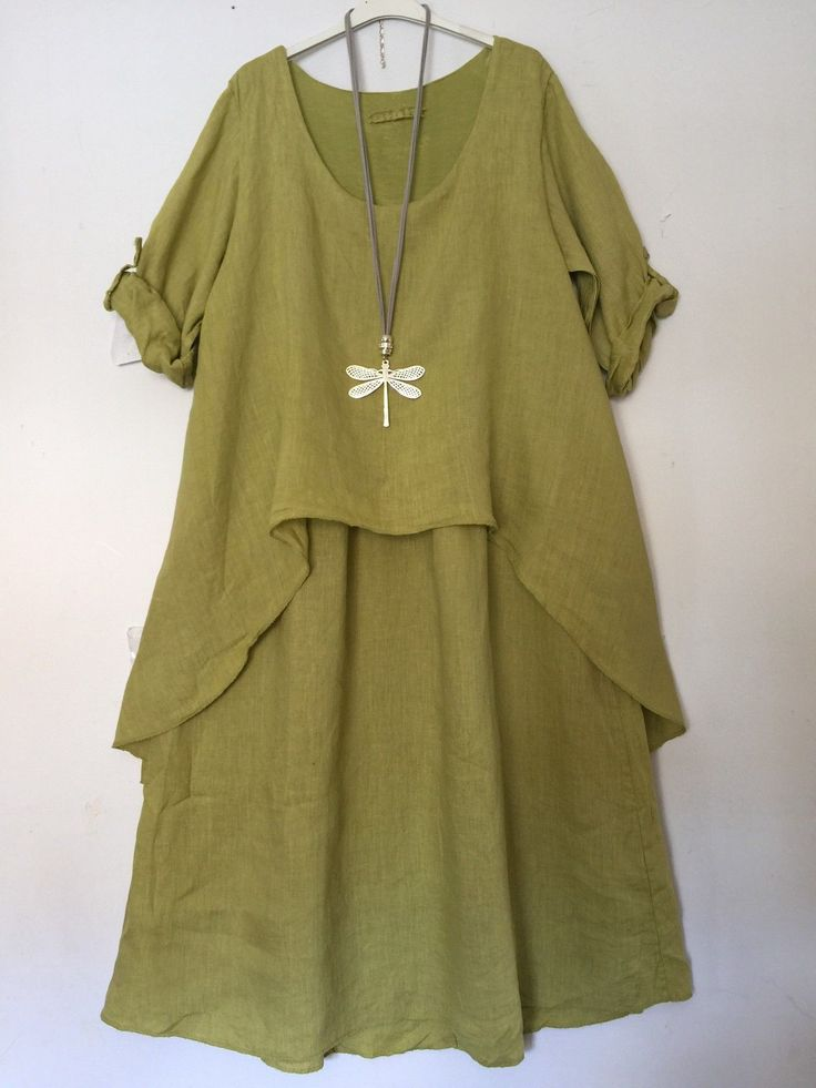KR5 LAGENLOOK RESTOCKED NEW COLOURS LINEN LAYERED TUNIC DRESS 12, 14, 16, 18, 20 | eBay