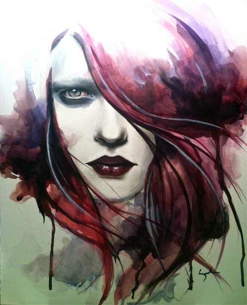 Watercolor.  Ink.  Charcoal.