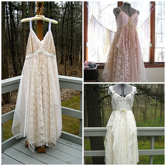 Sweet vintage slips are transformed by long and lean panels of raw-edged vintage, new, and recycled lace to create an alternative wedding gown perfect for a bohemian, hippie, gypsy, or beach bride.  Your dress will be SIMILAR IN STYLE to the dresses pictured above (which have been sold) BASED ON WHAT LINGERIE AND LACES ARE AVAILABLE. Please allow 8 to 10 WEEKS lead time for production. Please note that the skirt is made up of individual panels of raw-edged lace for a tattered look…