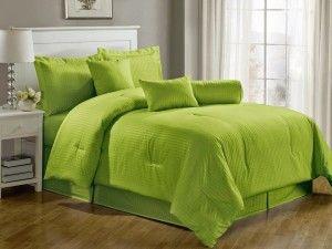 Chezmoi Collection 7-Piece Hotel Dobby Stripe Comforter Set, Queen, Apple Green