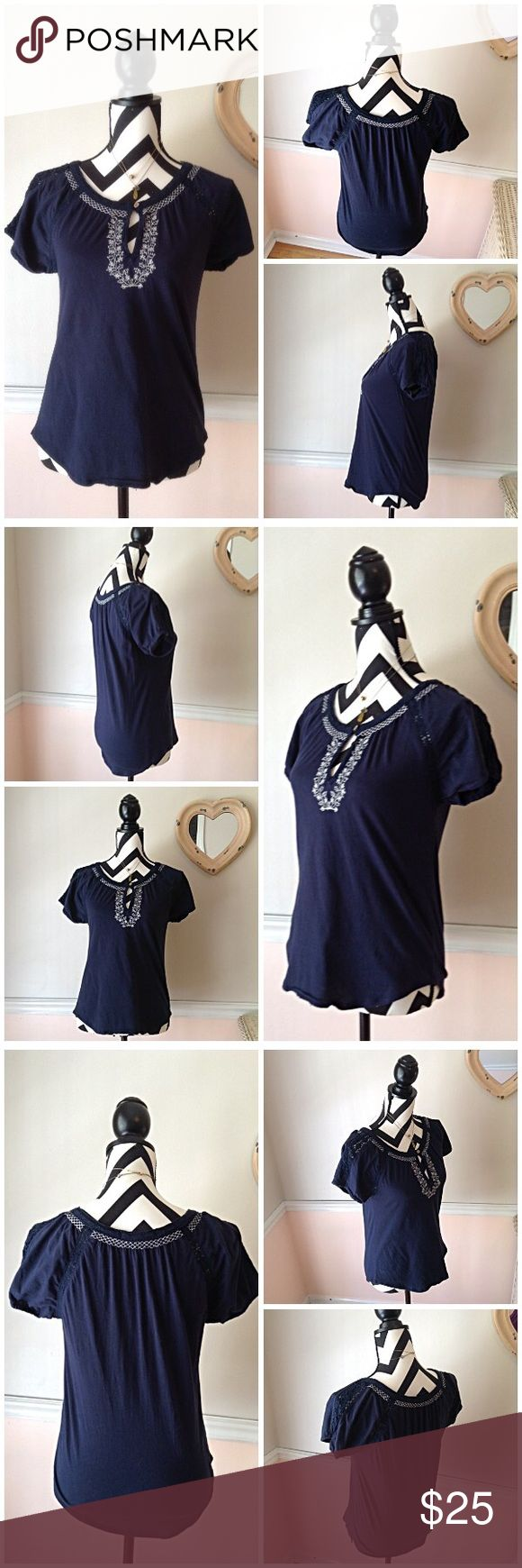 Lucky Brand My Favorite Embroidered  Boho Navy Tee Lucky Brand My Favorite Embroidered Boho Navy Tee. Size XS. Runs big. Used, Good Condition. No stains, No hole, No rips. Crochet details on sleeves and neck line. Bust is 38 inches. Length is 24 inches. Tee is 100% cotton.  Feel free to ask questions. Offers Welcome. 🚫NO TRADES🚫 Lucky Brand Tops Tees - Short Sleeve