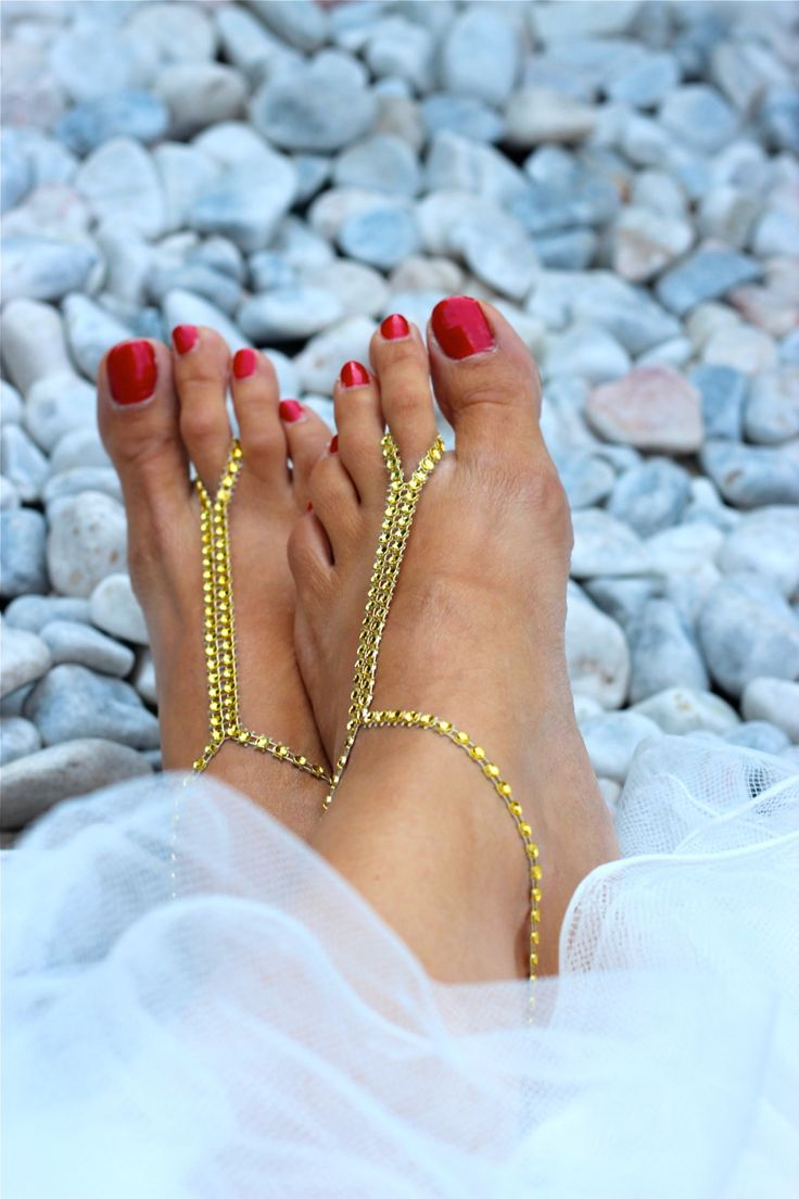 GOLD Barefoot Sandals; Foot Jewelry, Sexy Summer Beachwear Accessory; bridal accssories, Beach wedding shoes; Rhinestone belt, golden by Kreacje on Etsy