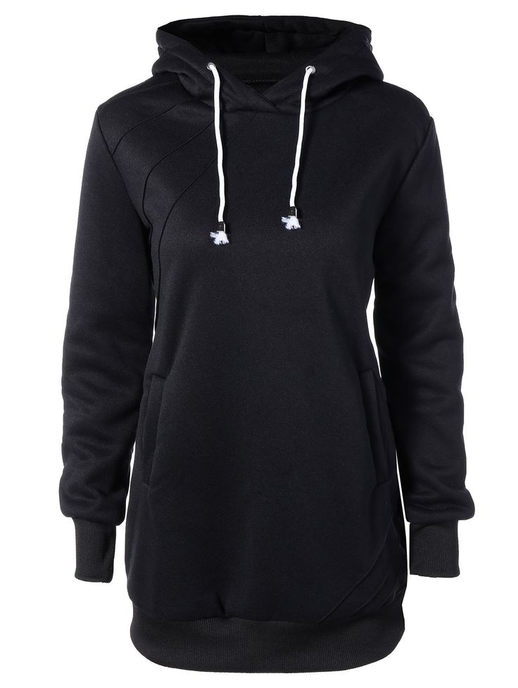 Casual Long Sleeve Drawstring Hoodie Dress in Black | Sammydress.com