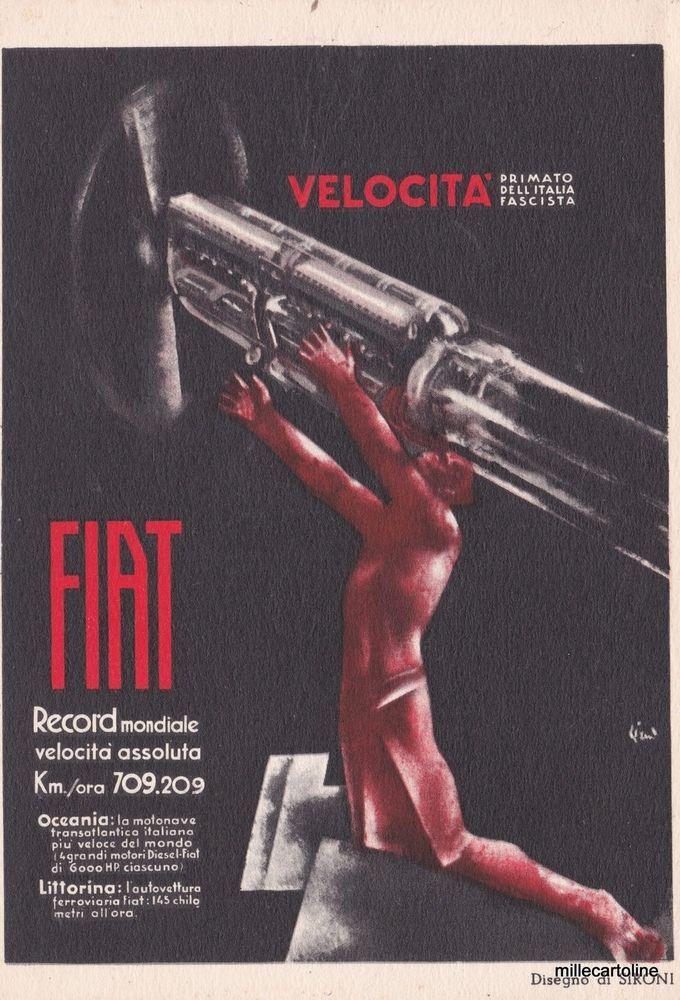 Old postcard, Sironi sign.1930 circa Futurismo - Fascismo FIAT #millecartoline