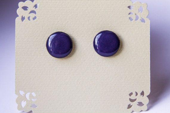 Deep grape studs deep purple stud earrings purple от JewelryBest