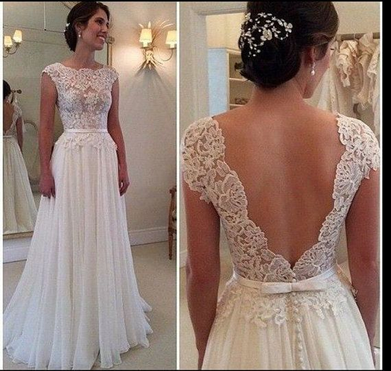 365 best wedding dresses under 2k images on pinterest wedding deep v cut lace chiffon wedding dress by bailynnbounique junglespirit Gallery