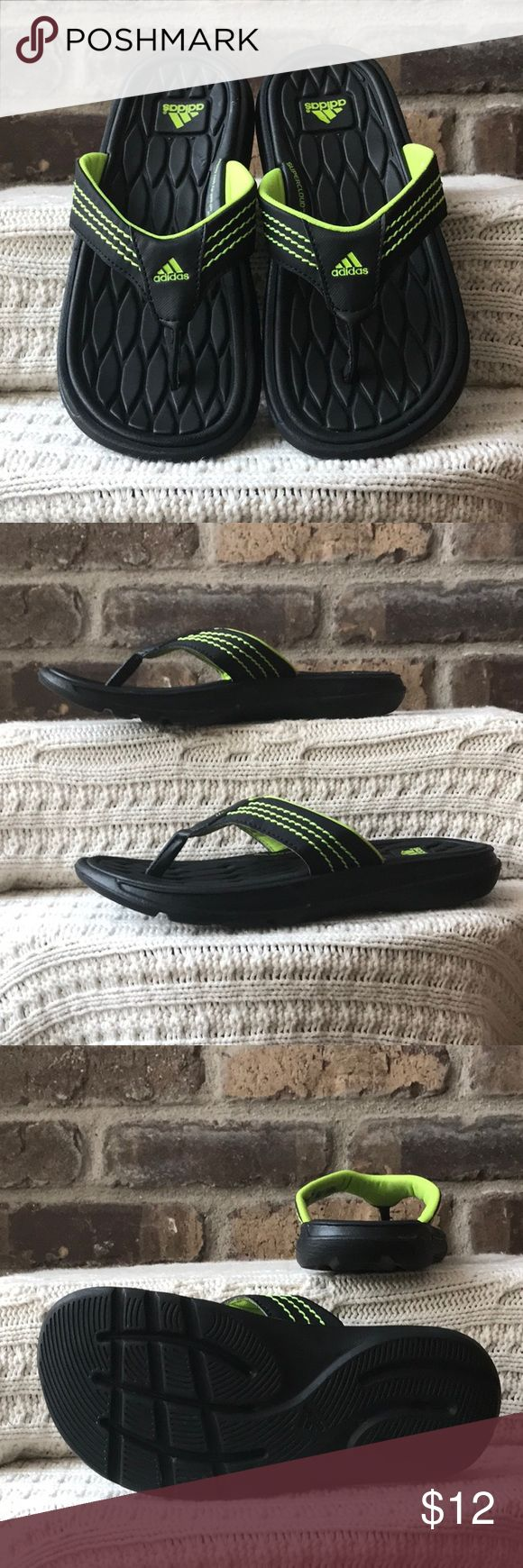 Adidas Flipflops Children's size 2 Adidas black and lime green flip-flops. They have been worn but are in very good condition adidas Shoes Sandals & Flip Flops