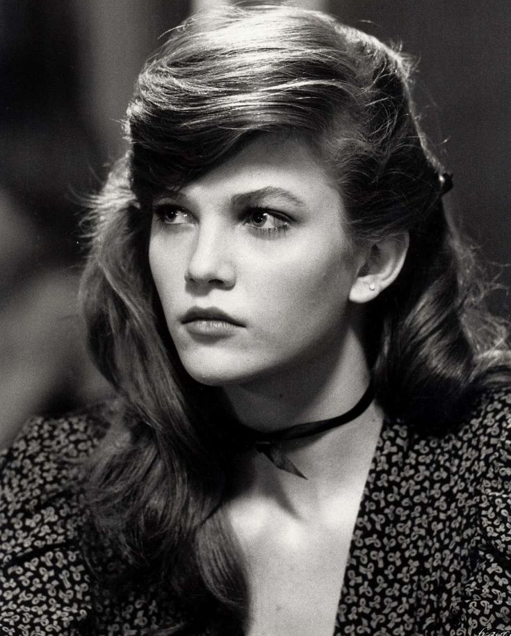 Young Diane Lane in Black and White Patterned Dress