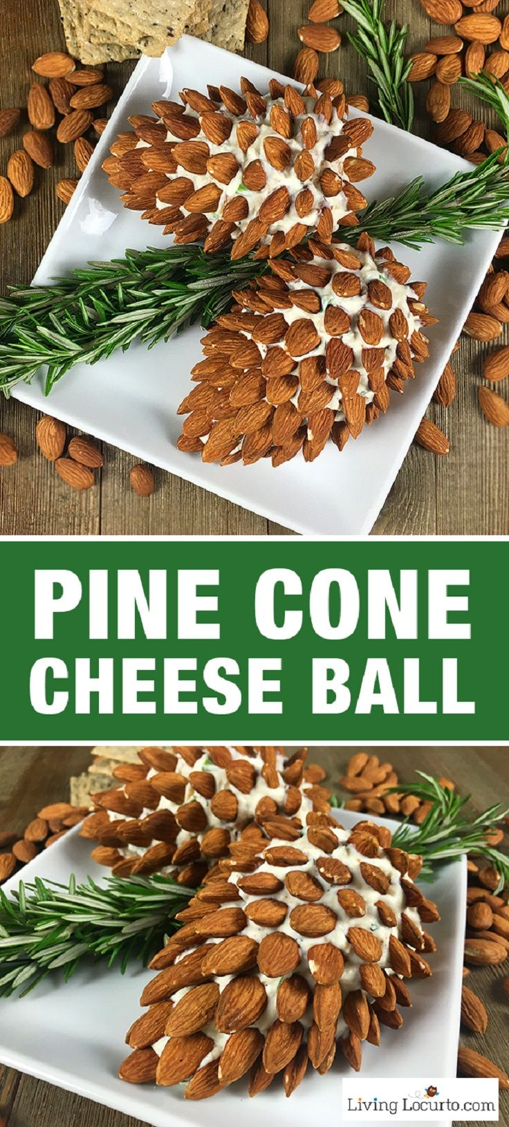 Pine Cone Cheese Ball with Almonds   - 18 Red and Green Christmas Appetizers for a Real Holiday Celebration