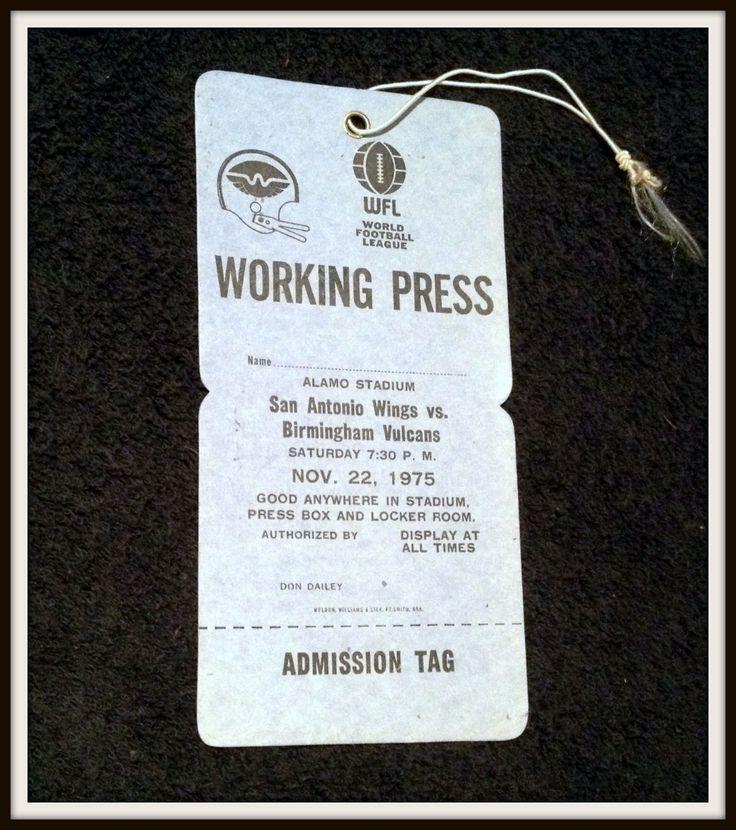 1975 WORLD FOOTBALL LEAGUE WORKING PRESS PASS SAN ANTONIO WINGS VS BIRMINGHAM