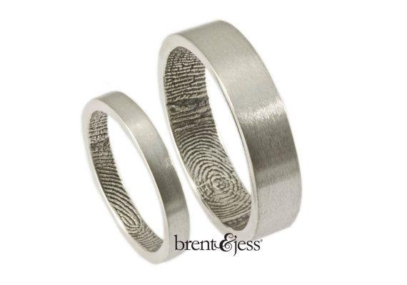 "Wedding Rings,  Wrapped Fingerprint Wedding Ring Set in Sterling silver,   wedding band set  ""the original"""