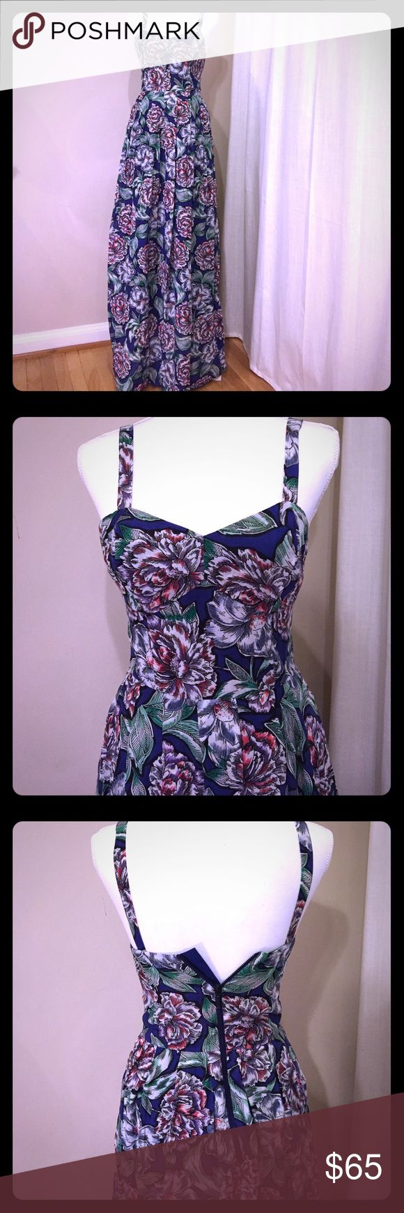 NWOT French connection floral dress monarch blue. Beautiful!! Ultra feminine French Connection dress in monarch blue.  This dress is ultra feminine, floor length with a beautiful floral pattern.  US Size 0. Bought it as a gift and ended going with something different.  The dress is brand new never worn without tags.  Zipper works, the dress is just too small for my mannequin.  This dress is perfect for spring or summer with feminine heels or great boots and a leather jacket. French…