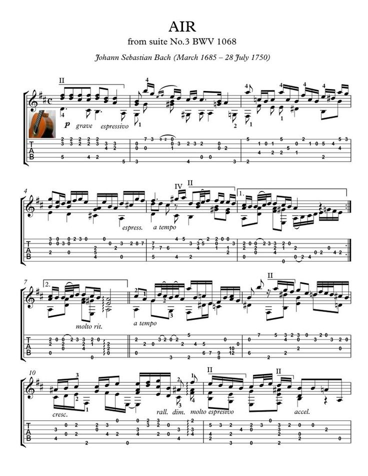 Bach for guitar BWV 1068 Air Air on the G String from Johann Sebastian Bach's Orchestral Suite No. 3 BWV 1068. For Classical Guitar solo, with tablature, with downloadable mp3 for audio help.
