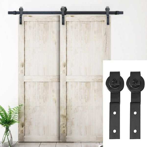 6 6 Ft Single Track Bypass Double Barn Door Hardware Black One Piece Rail Bypass Barn Door Hardware Barn Doors Sliding Door Hardware