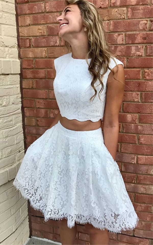 Two Piece Crew Above-Knee White Lace Homecoming Dress with Pockets ... 0665c85267fd