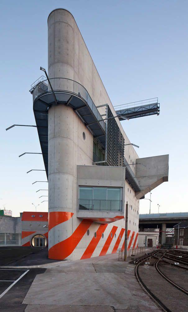 RATP Formation Center, nicknamed Helicopter building, at Porte de la Villette Building, Paris, France- design by Stephane Maupin Architectes & Nicolas Hugon