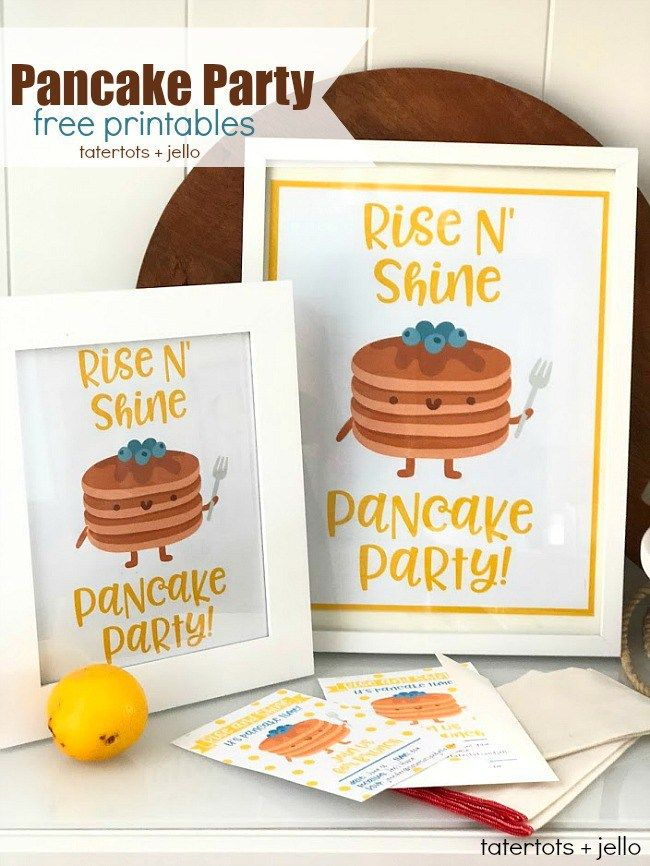 Kids Pancake Party – Free Party Banner, Poster, Invitations