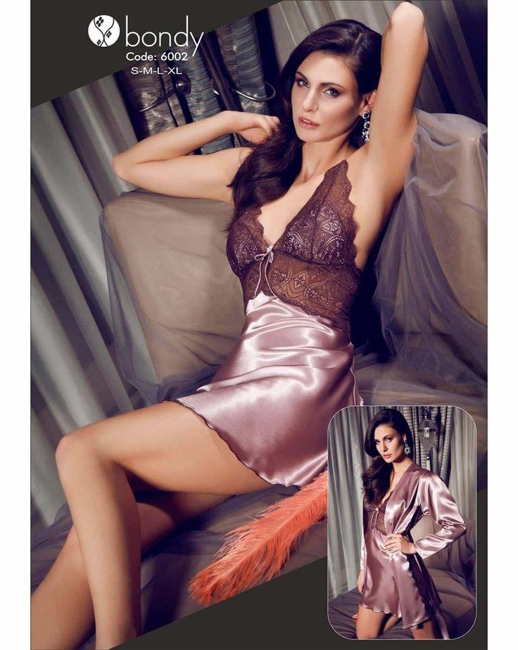 Bondy 6002 Saten Gecelik Sabahlık Takım | Mark-ha.com #gecelik #stylish #fashion #newseason #yenisezon #trend #moda #markhacom