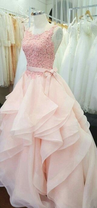 Gorgeous Pink Beading Appliques Prom Dress,Scoop Neckline Evening Dress,Elegant Formal Dress with Belt