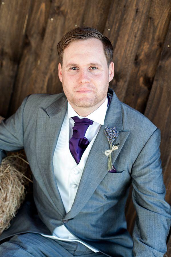 groom purple cravat Fun Lavender Barn Wedding http://www.kerrybartlett.co.uk/