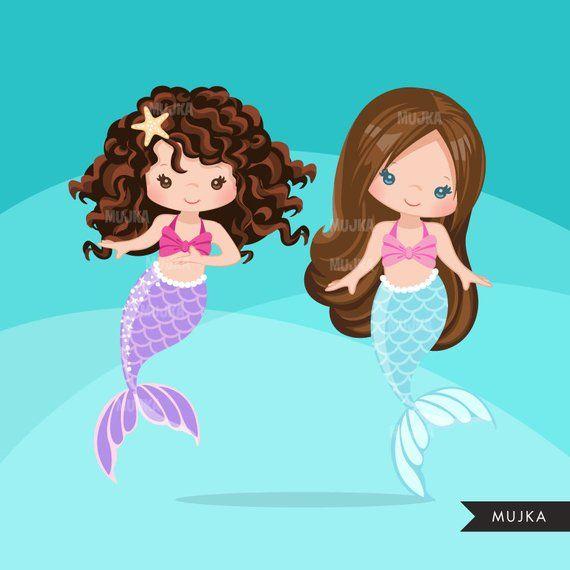 pastel mermaid graphics clip art toppers mermaid princess favors Mermaid clipart card making birthday party