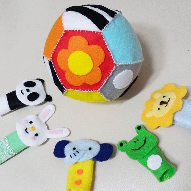 手作り指人形の一例,赤ちゃんおもちゃ,手作り,フェルト