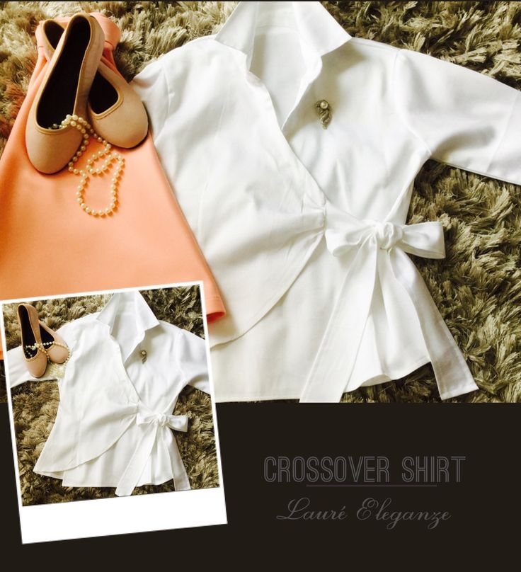 White Crossover Shirt & Peachy Pink Skirt - Available from Lauré Eleganze