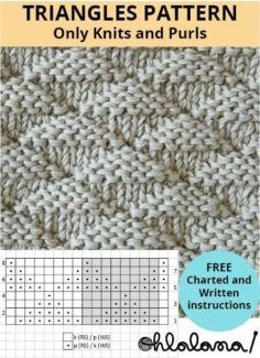 TRIANGLES stitch knitting pattern #stitchpattern #stitchknittingpattern #knittingstitches #knittingstitchespatterns #knitting #ohlalana #ohlalanaknitting