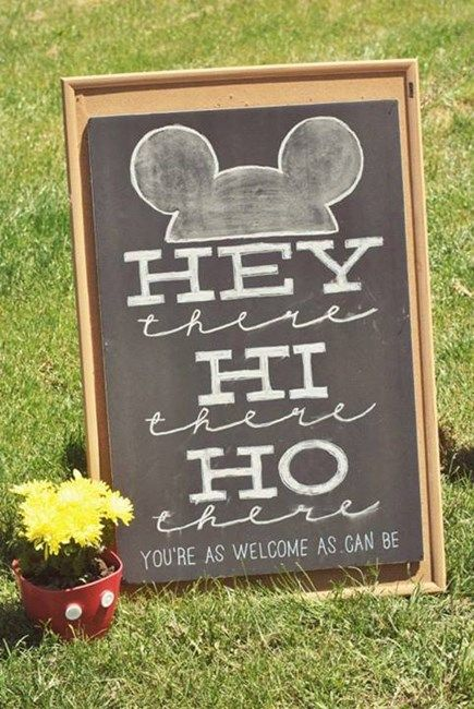 "Welcome sign with lyrics from original Mickey Mouse Club song // ""Hey there, Hi there, Ho there! You're as welcome as can be!"""