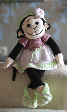 Monkey Girl in the pink dress - pdf knitting pattern