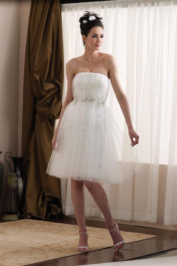 Vestido de noiva Romântico Decalques Sem Alças Tule