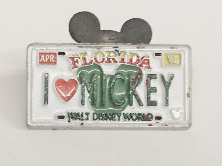 2007 Official Pin Trading Hidden Mickey Mouse Pin 1 of 11 I Love Mickey Florida License Plate Pin