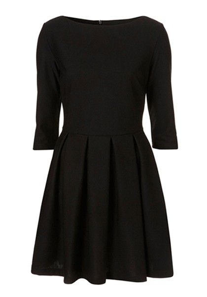 Black Pleated Seven's Sleeve Skinny Cotton Blend Dress
