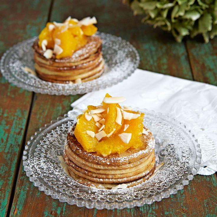 En dessert med exotisk smak av kokos och apelsin.