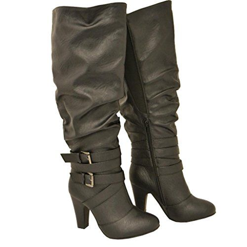 Twisted Women's HAILEY Faux Leather Wide Calf Knee-High Western Heeled Riding Boot with Multi Buckle Straps - BLACK, Size 10 Twisted http://www.amazon.com/dp/B00O3MVT42/ref=cm_sw_r_pi_dp_fwSuub1RG9HJ7