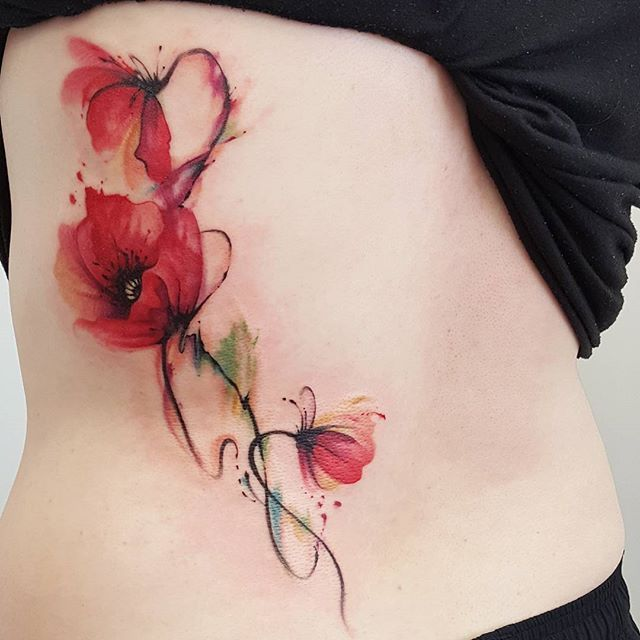 Abstract watercolour jemka tattoo red poppy poppies tora sumi Sydney flower