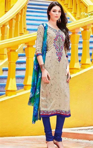 Picture of Artistic Beige Cotton Salwar Kameez