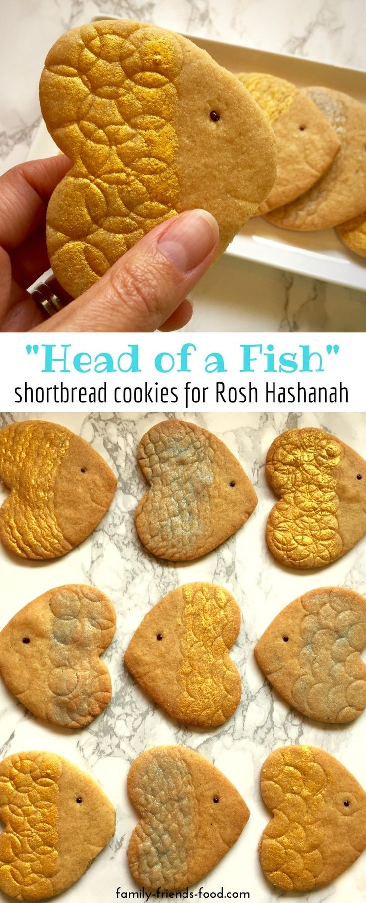Even the kids will love having the 'head of a fish' on the Rosh Hashanah table, when they're made of cookies! Crunchy sweet shortbread for a sweet new year! #roshhashanah #jewish #jewishnewyear