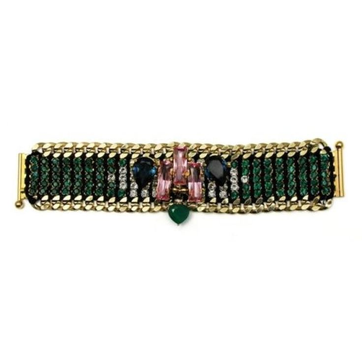 Akong London 24K Gold Plated Green Onyx Bracelet
