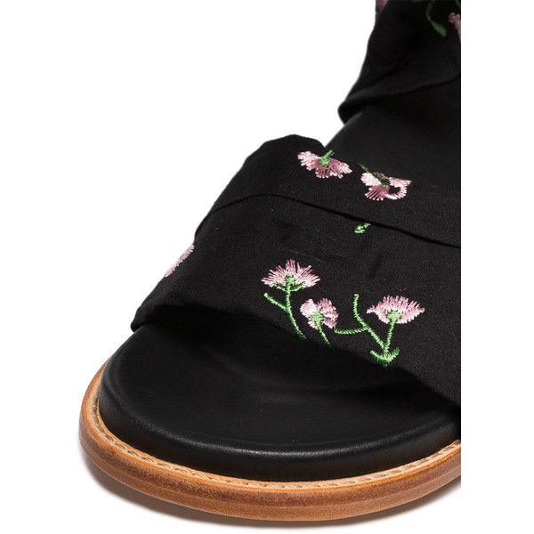 Marques'almeida floral embroidered flat wrap sandals ($438) ❤ liked on Polyvore featuring shoes, sandals, black flat sandals, real leather shoes, flat footwear, black shoes and marques almeida shoes